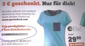 Sportscheck Sommer Sale mit 5€ Gutschein aufbessern